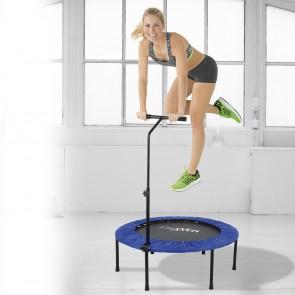 MAXXMEE Fitness Trampolin - Mit höhenverstellbarer Haltestange - blau/schwarz