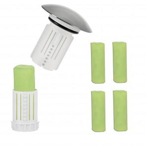 Abfluss-Fee Verschlussstopfen in Weiß mit Duftstein + Duftstein 4er-Set - Freisteller 1