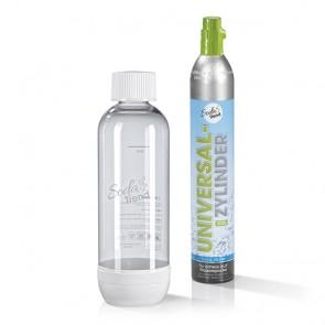 Soda Trend PET-Flasche Sprudler 850 ml weiß + CO2-Zylinder