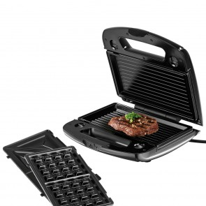 GOURMETmaxx Sandwichmaker Vario 3in1 - 3 Grillplatten - schwarz